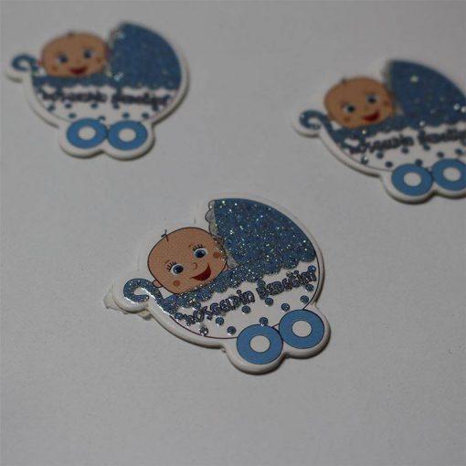 1597055872555394 Karton Sticker Mavi Bebek Arabalı 1 Paket 1 1
