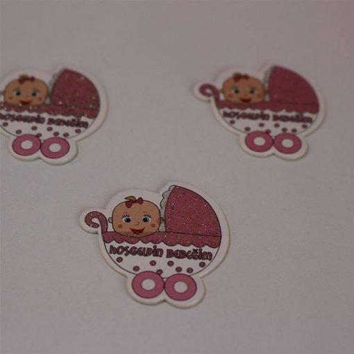 1597056055845458 Karton Sticker Pembe Bebek Arabalı 1 Paket 1